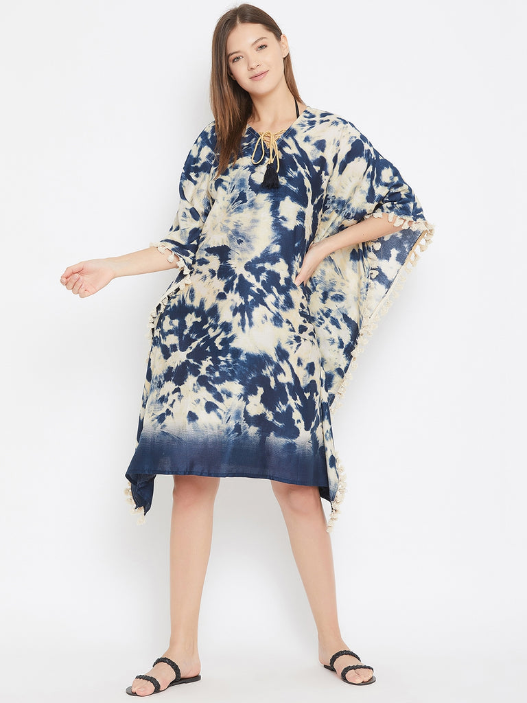 Navy Blue And Off Whte Tie Dye Resortwear Kaftan With Neck Tie Up