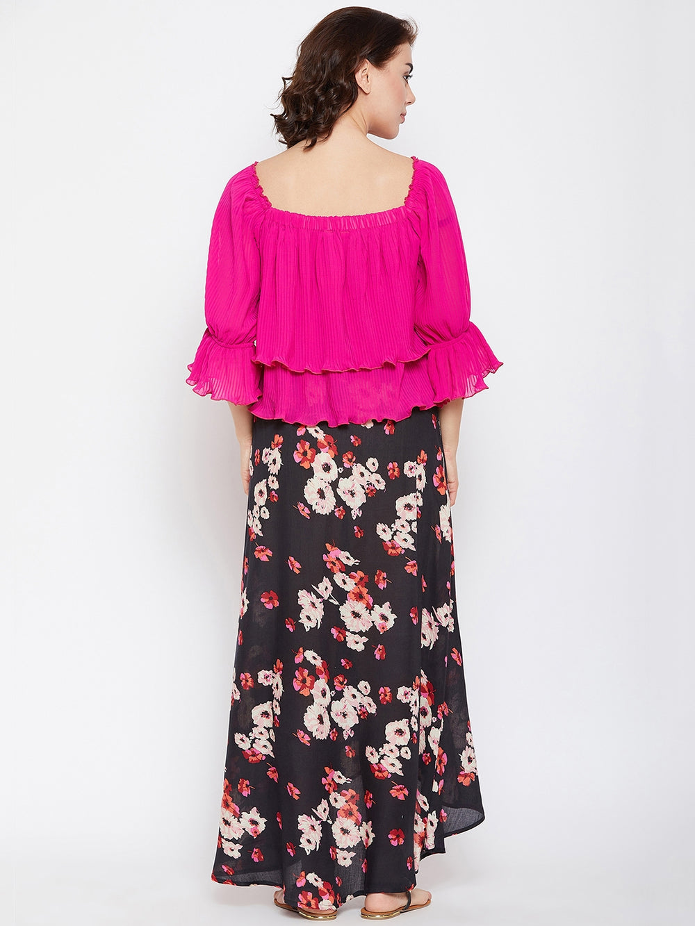 BARDOT PLEATED TOP AND MAXI SKIRT SET
