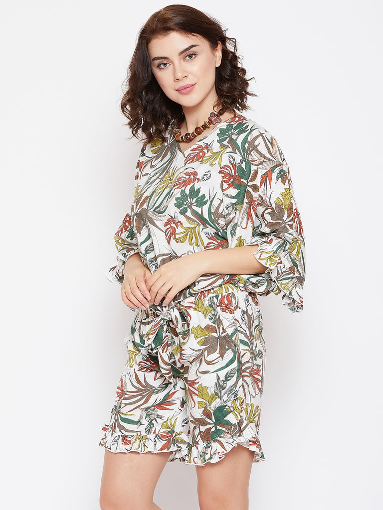 JUNGLE PATUZO KAFTAN TOP AND SHORTS SET