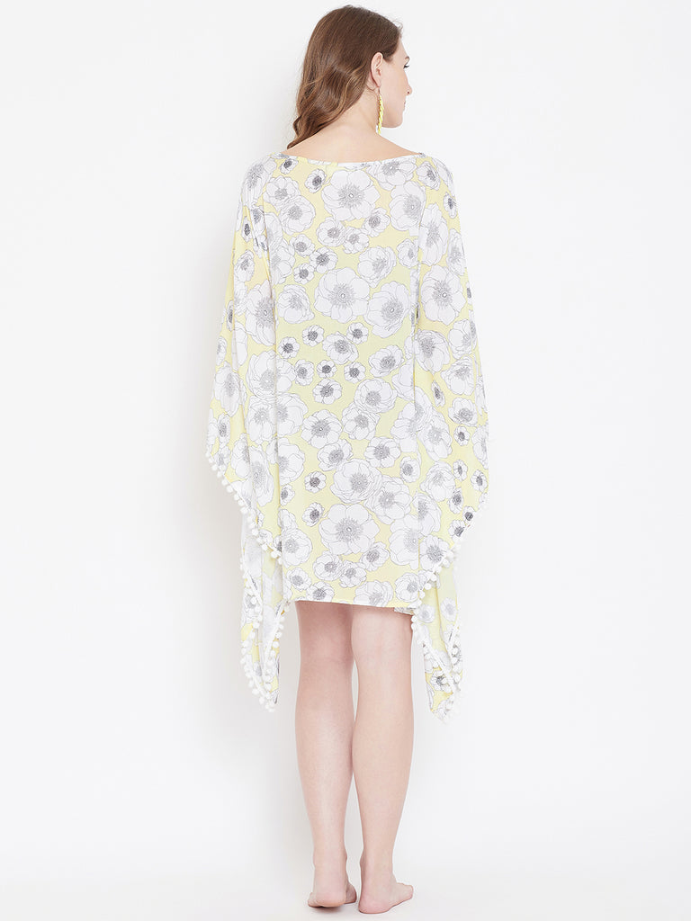 YELLOW FLORAL PRINTED LOUNGEWEAR KAFTAN
