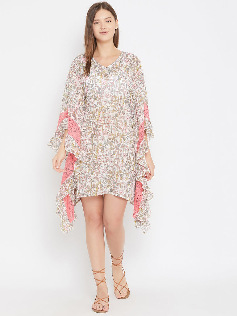 Floral Print White Resortwear Kaftan With Lace And Ruffle Detail