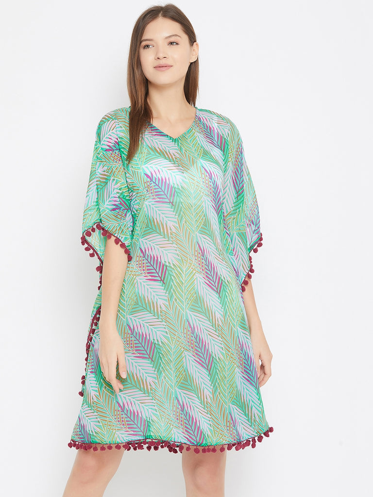 Green Tropical Print Resortwear Kaftan With Pom Pom Lace Detail