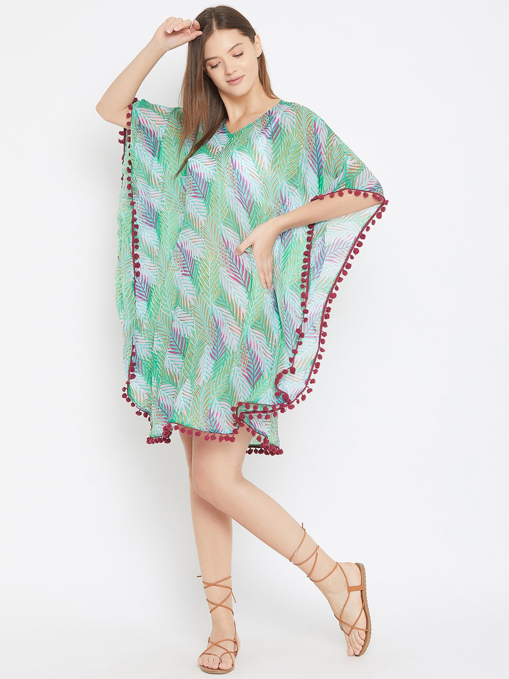 Green Leaf Tropical Print Kaftan with Pompom