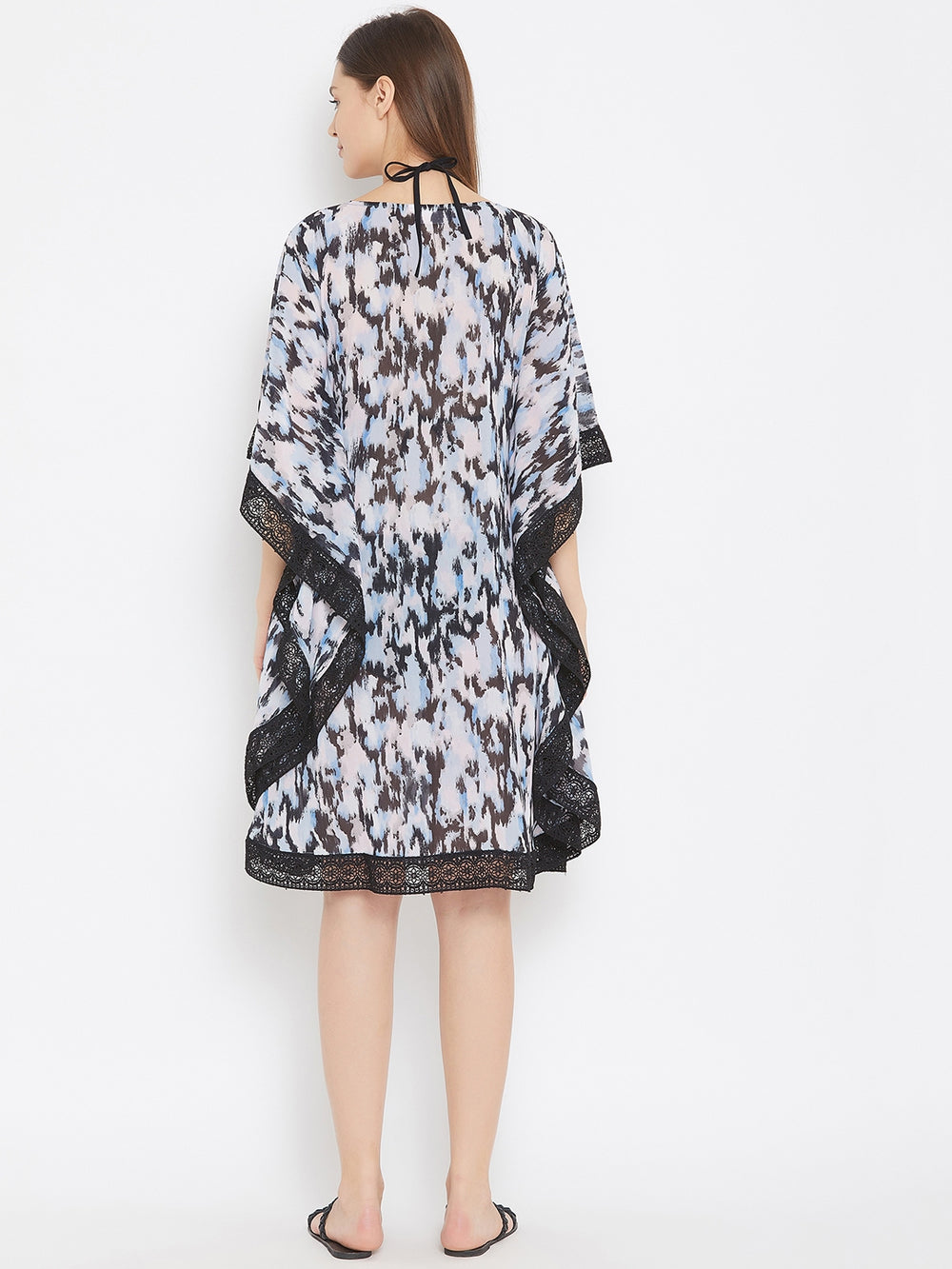 Abstract Sky Georgette Kaftan