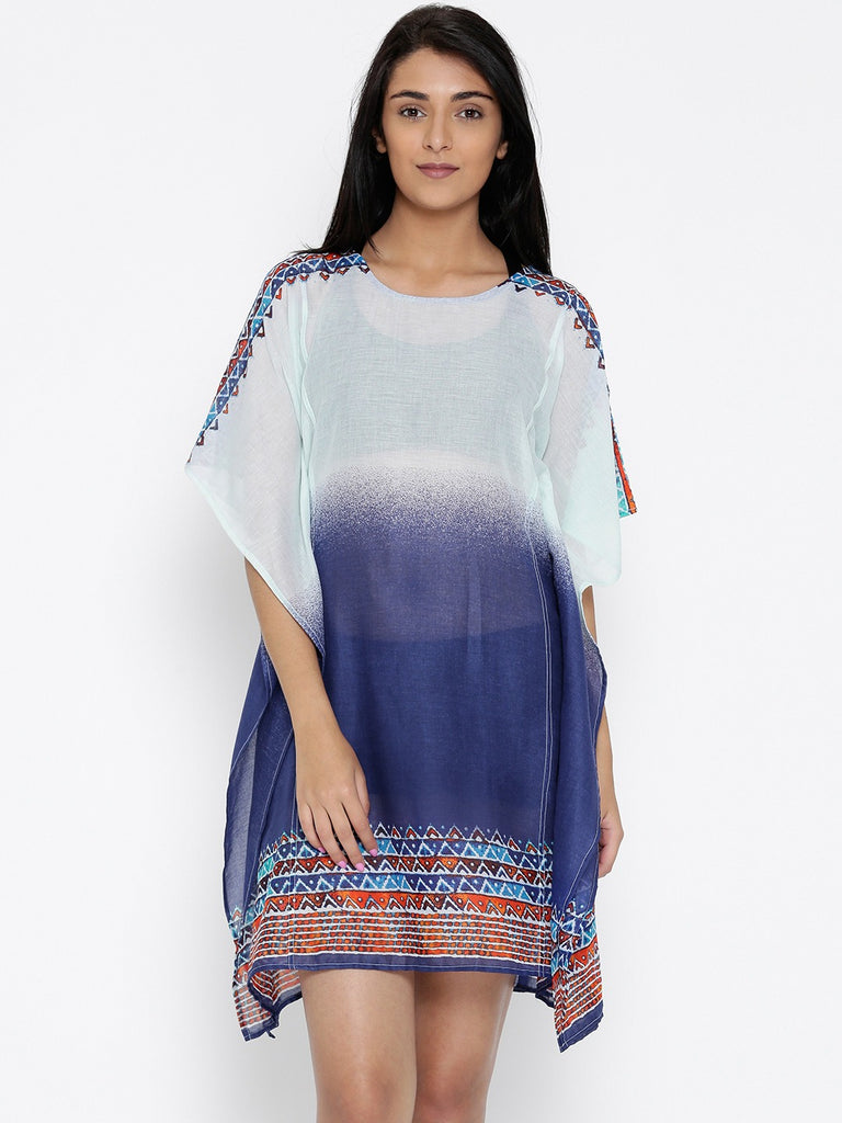 Blue and White Printed Kaftan