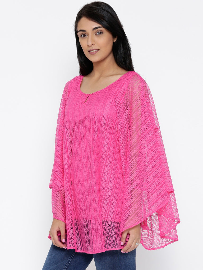 Pink Lace Kaftan Cover-Up