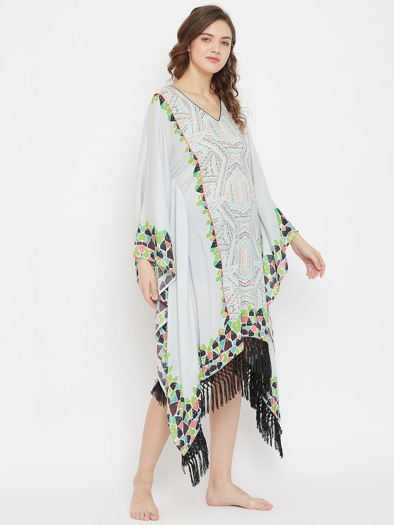 Color Puff Digital Printed Resort Kaftan