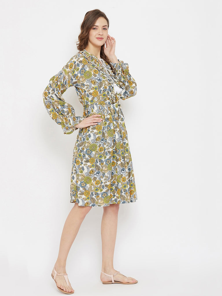 Floral Bunch Resort Dress with Ruffled Neckline