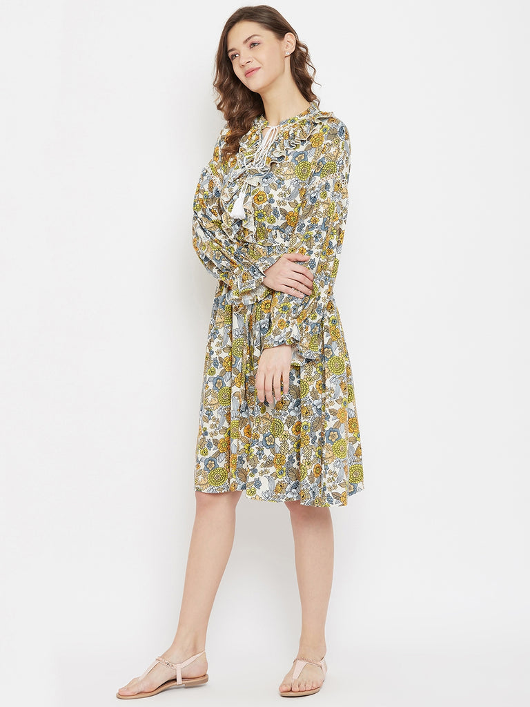 Floral Bunch Off White Modal Resort Dress with Ruffled Neckline with Tassle Tie-ups
