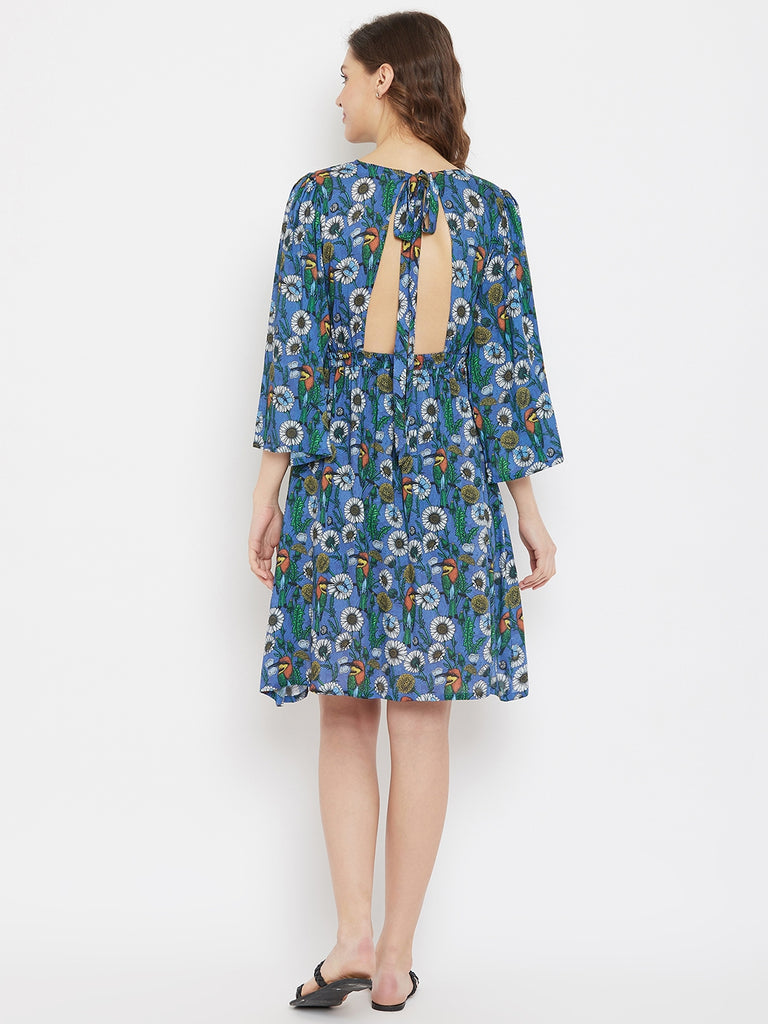 Daisy Blue Resort Dress with Back Cut-Away