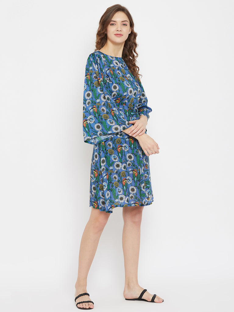 Daisy Day Blue Modal Resort Dress with Back Cut-away Detailing and Waist Belt