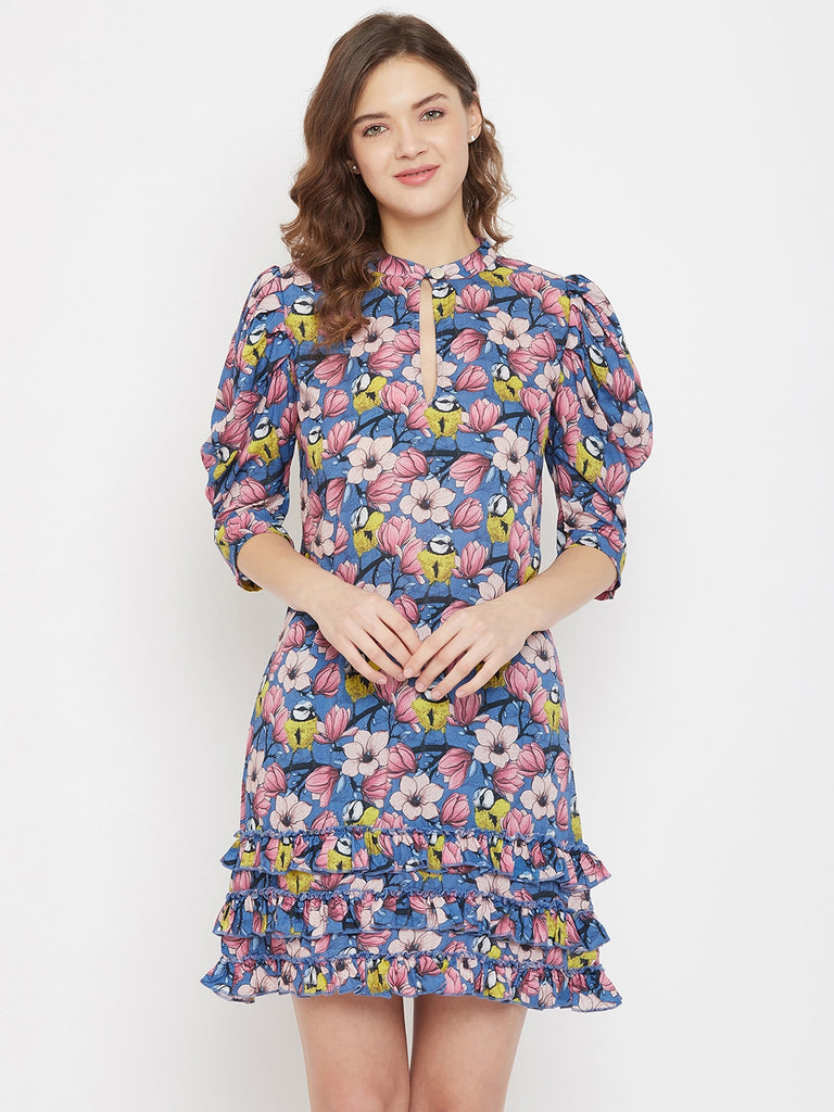 Pink Poppies Modal Resort Dress with Keyhole detailing and Pleated Sleeves