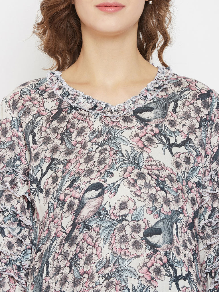 Botanical Blossom Layered Sleeves Resort Dress