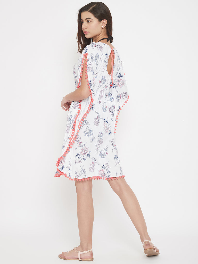 Floral Print Resort Wear Kaftan with Pom-Pom