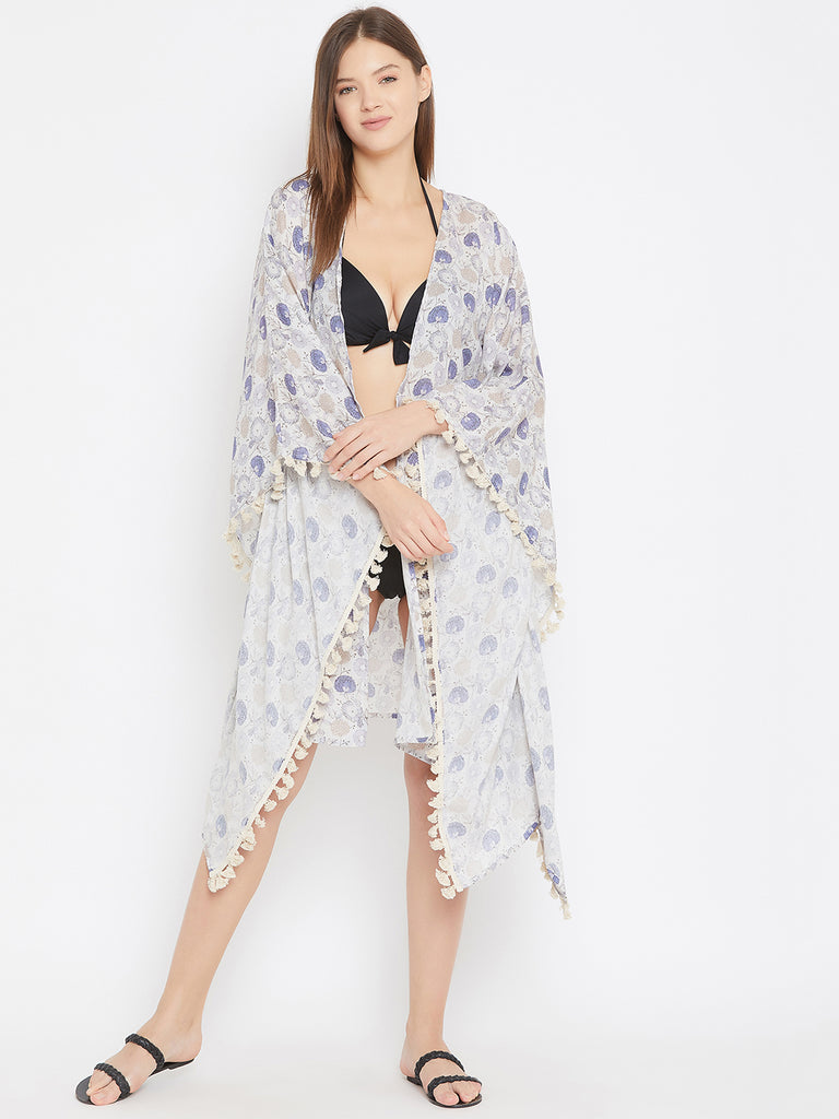 Grey Poppies Resort Kaftan Shrug with Fringes