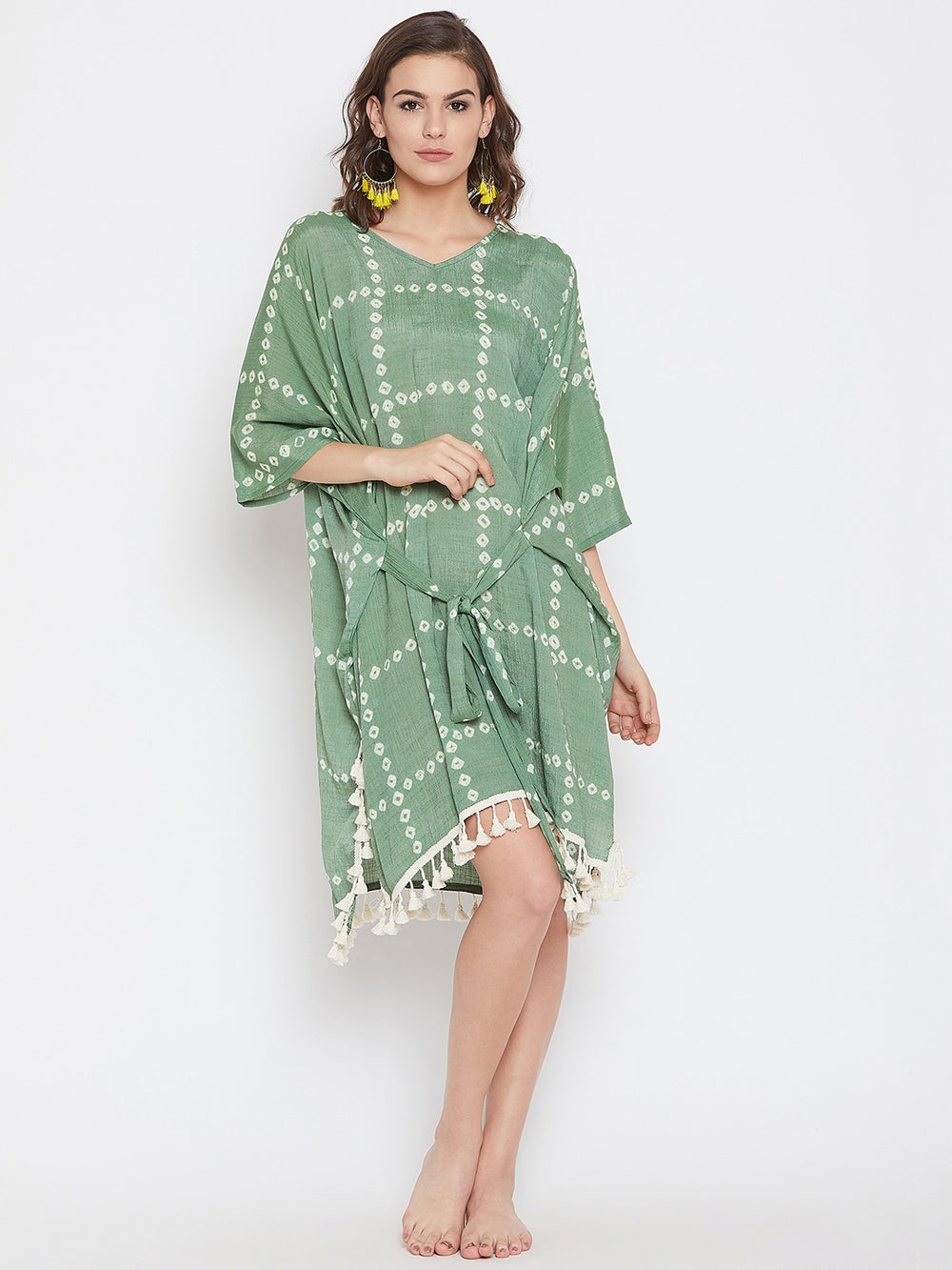Green Bay Tie-Dye Cover-Up with Fringe Lace