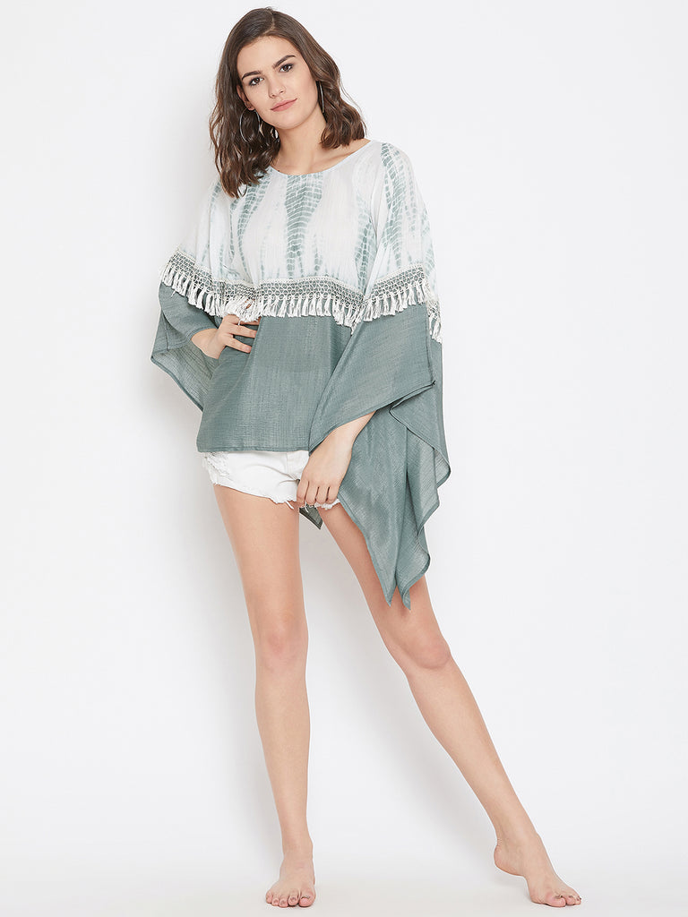Glaciers of Ice Tie-Dye Kaftan Top