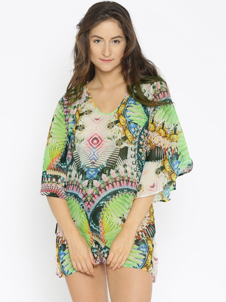 Green Digital Printed Resort Wear Cover-Up
