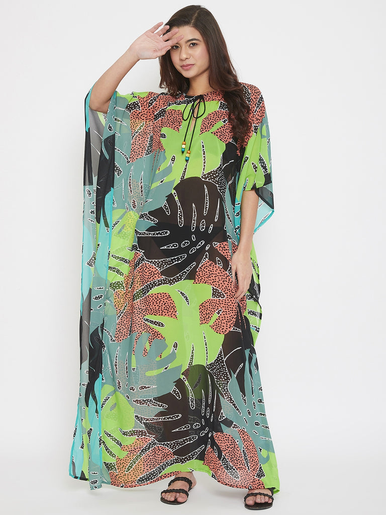 Serengeti Leaves Maxi Sheer Kaftan