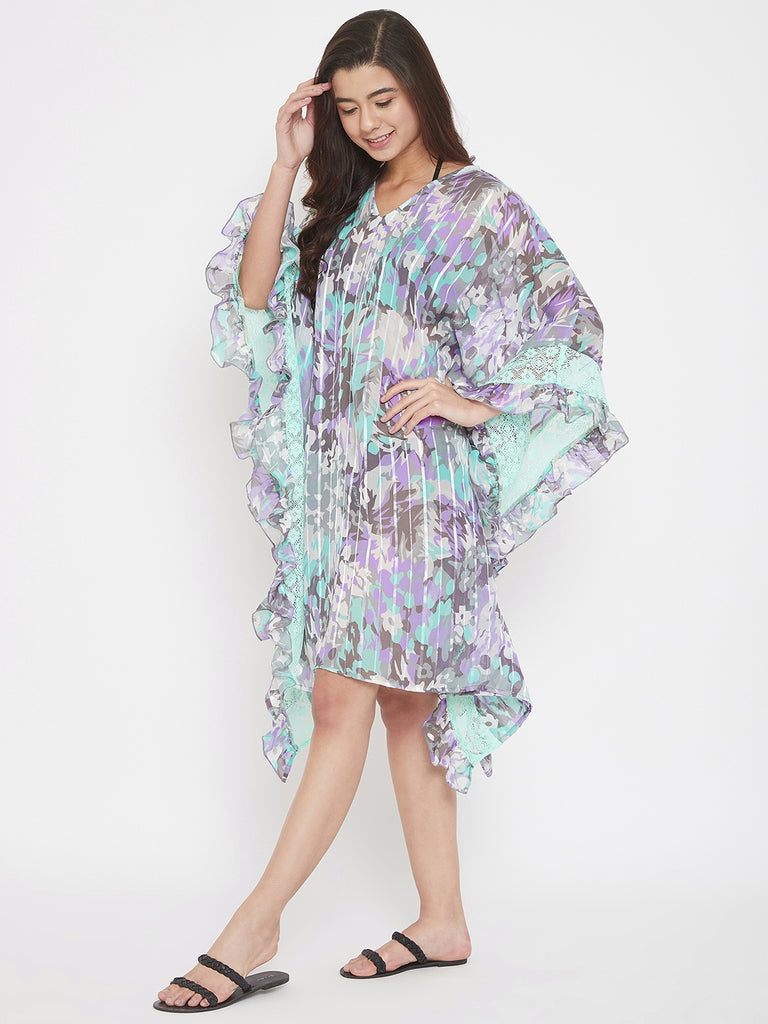 Floral Georgette Resort Wear Kaftan with Lace Ruffle