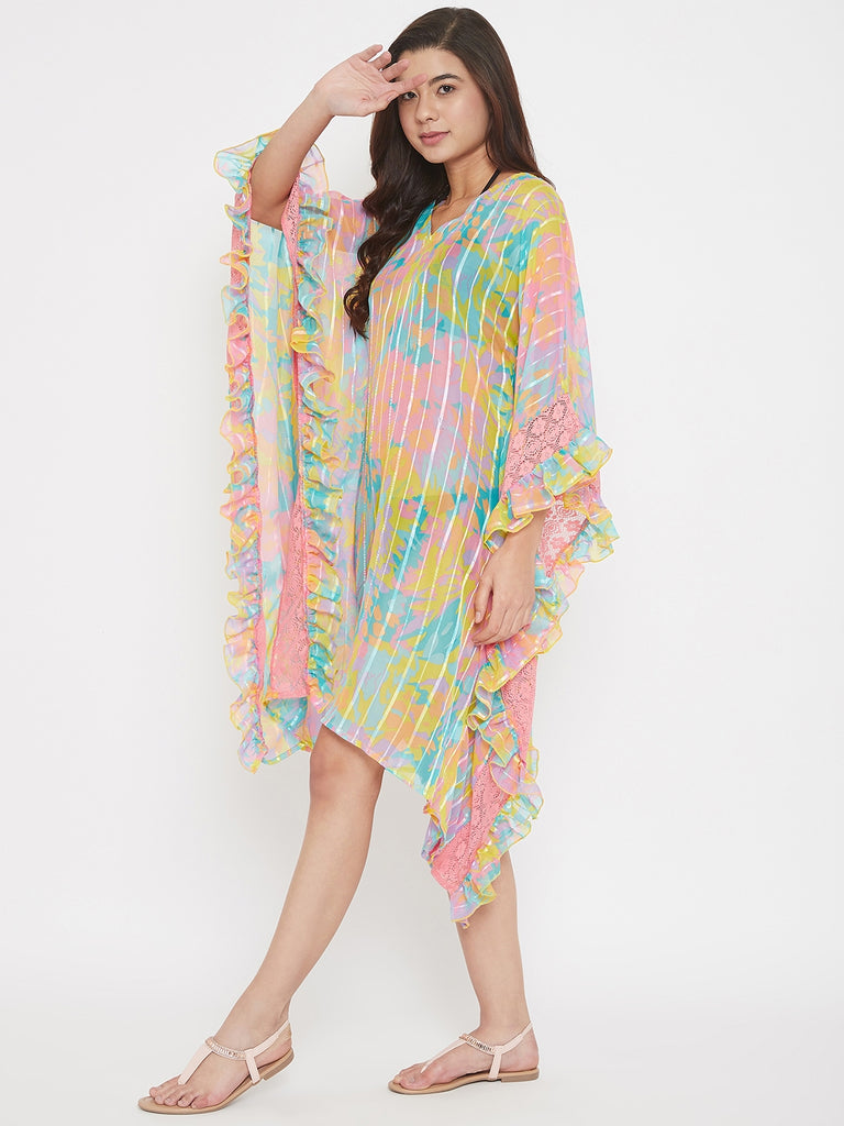 Neon Georgette Resort Wear Kaftan with Lace Ruffle
