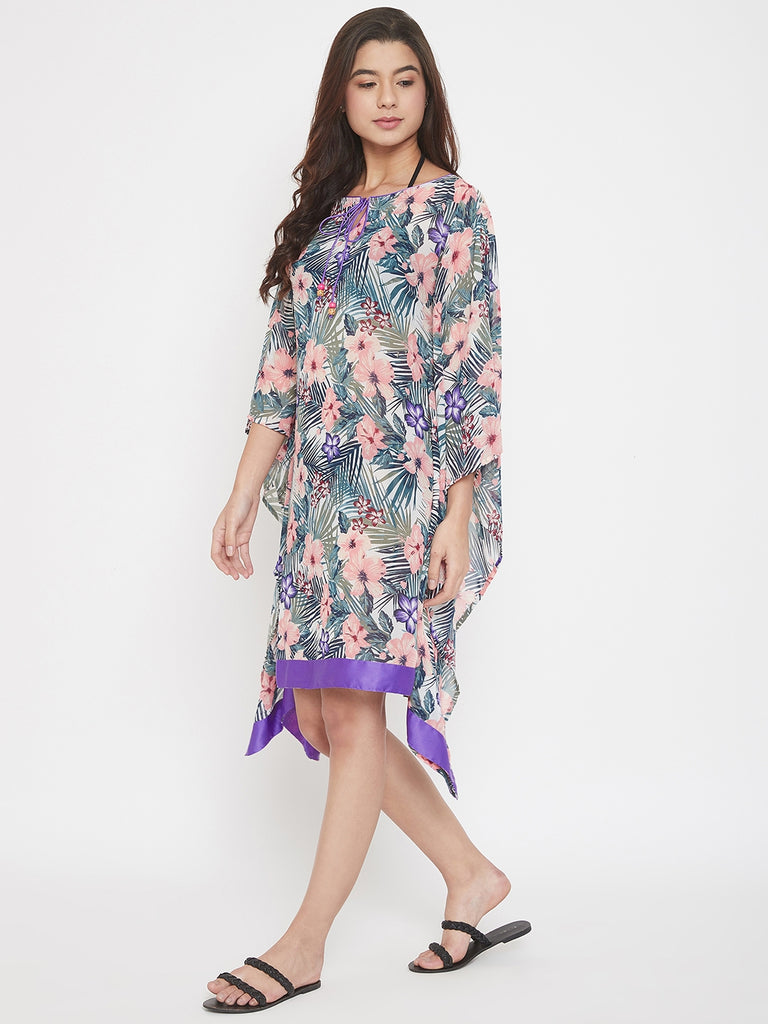 Tropical Printed Sheer Georgette Resort Kaftan