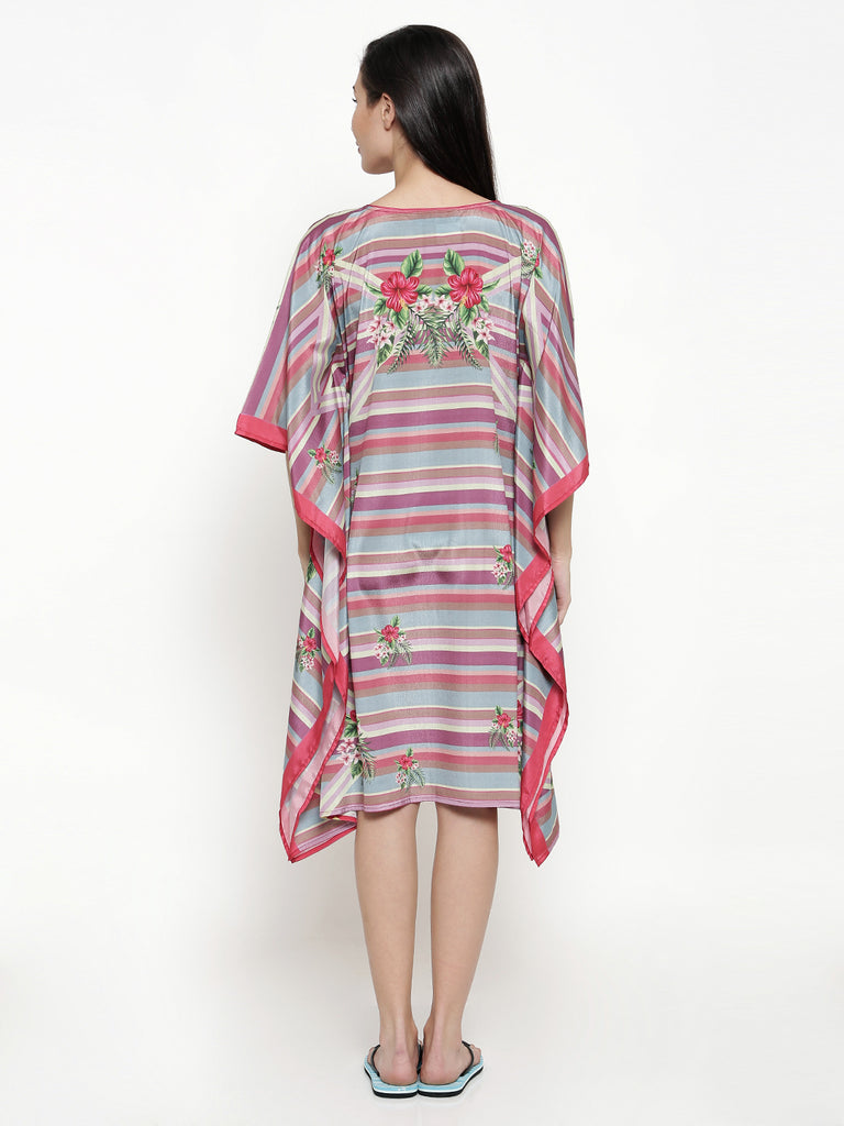 Floral Trellis Striped Kaftan Dress