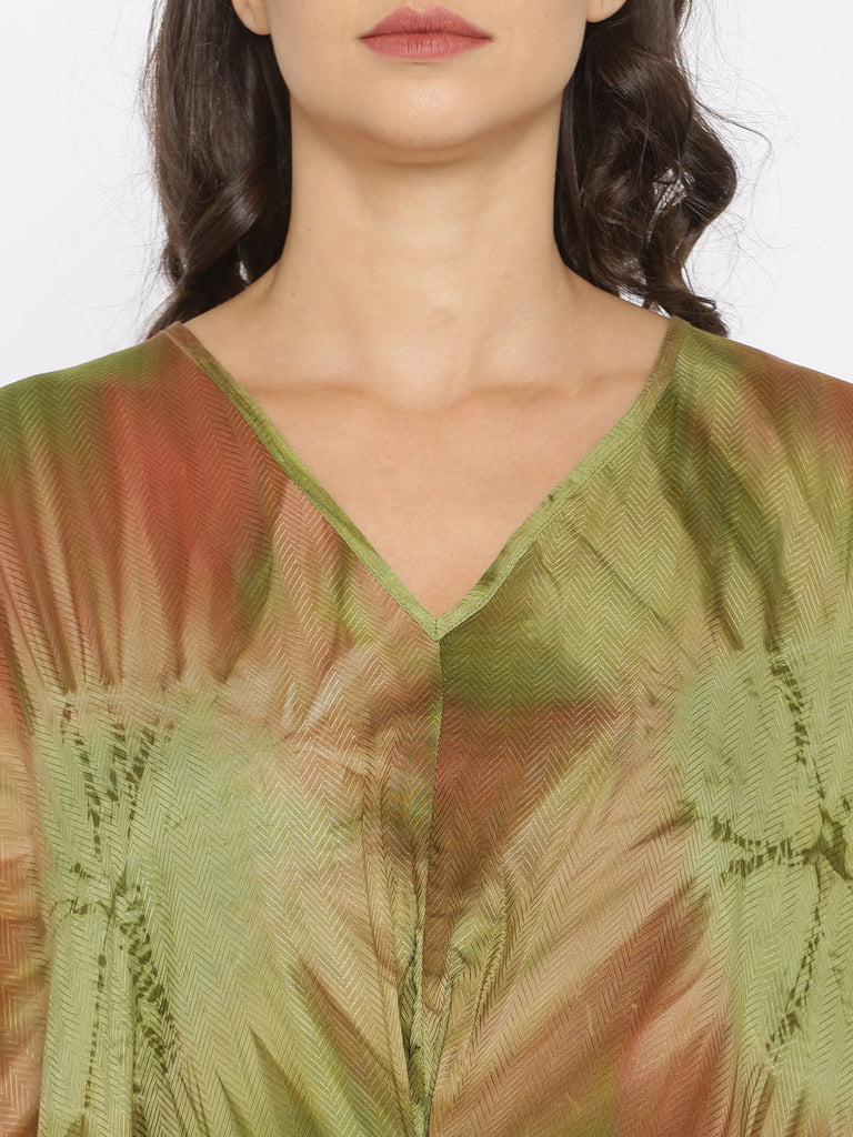 Green and Brown Tiedye Kaftan
