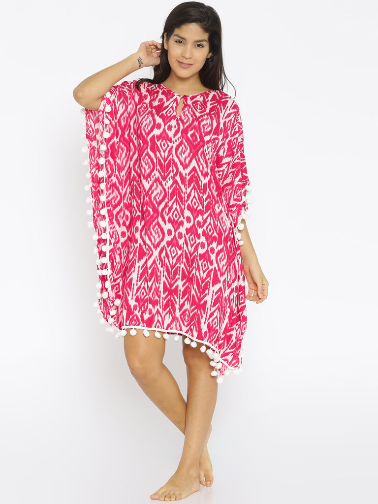 Pink and White Kaftan Dress