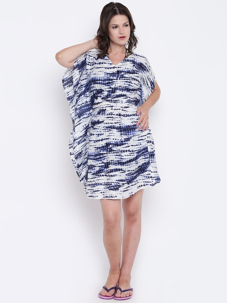 Blue & White Printed Cover-Up Dress