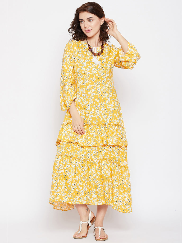 PRETTY FLORA MUSTARD LAYER MIDI DRESS