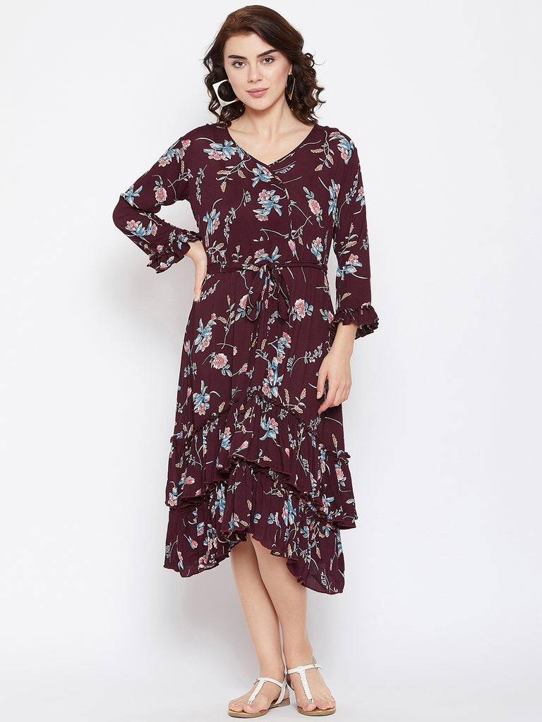 WINE WONDERS LAYERED DRESS WITH BELT