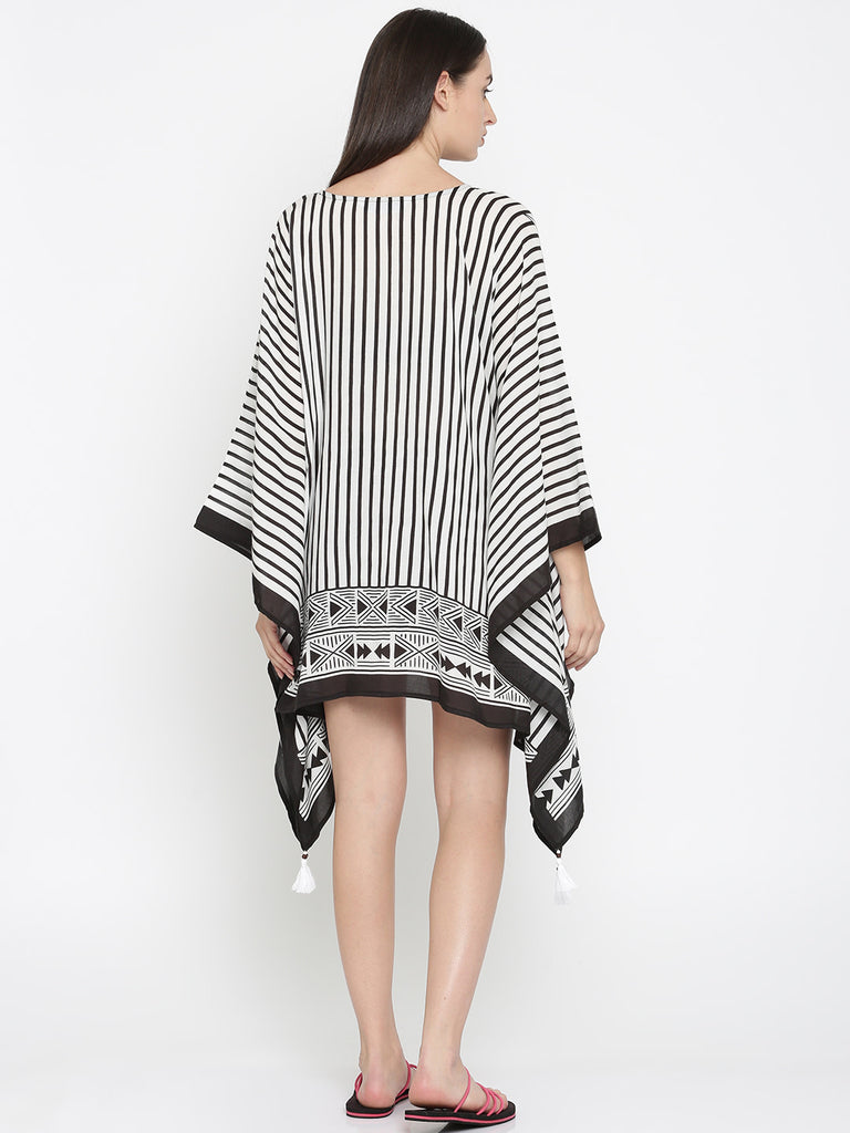 White & Black Striped Kaftan Sleepshirt