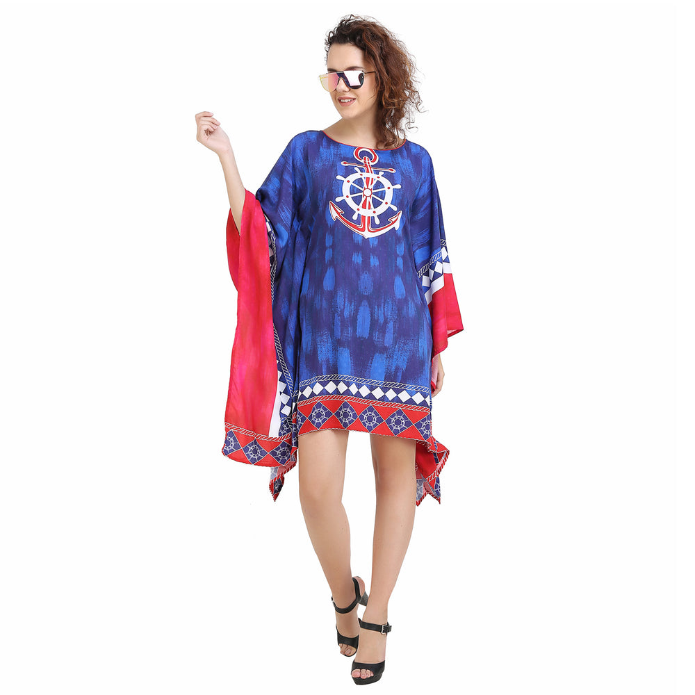 Nautical Printed Deep Blue Kaftan with Borders