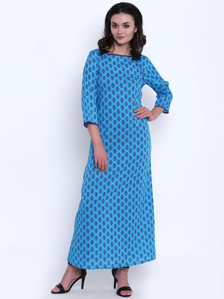 Blue Buti Printed Cotton Nighty
