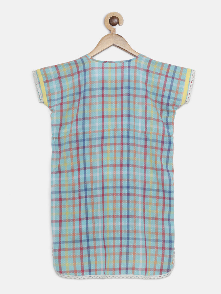 RAINBOW CHECKS KNEE LENGTH KAFTAN DRESS