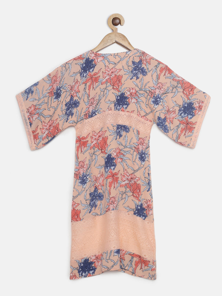 PEACH FLORAL KAFTAN DRESS