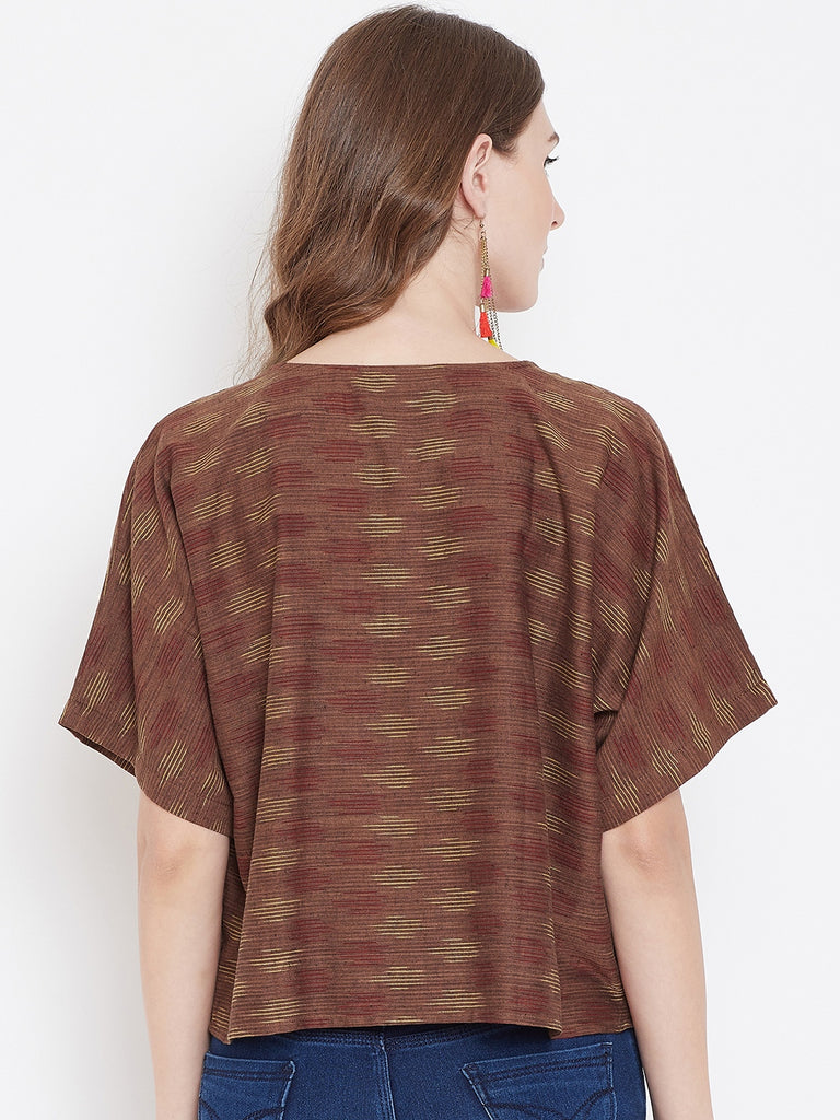 BROWN IKAT KAFTAN TOP