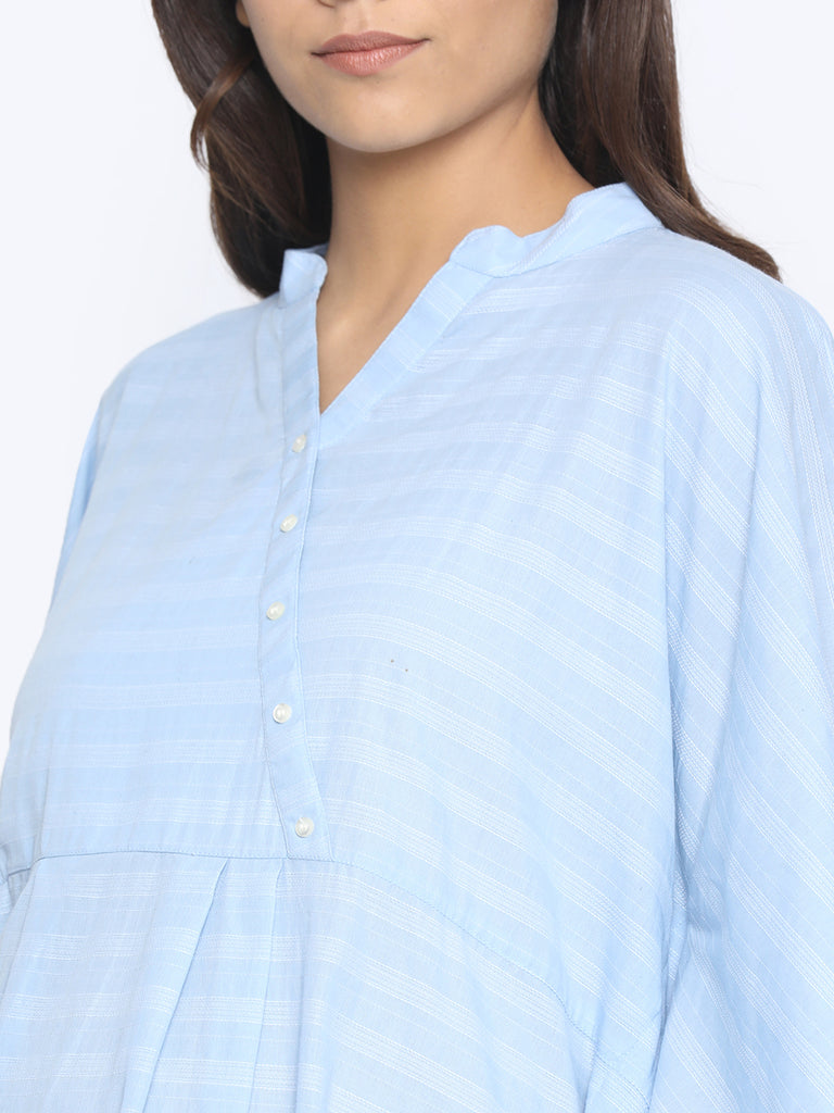 BLUE DOBBY MATERNITY KAFTAN TOP