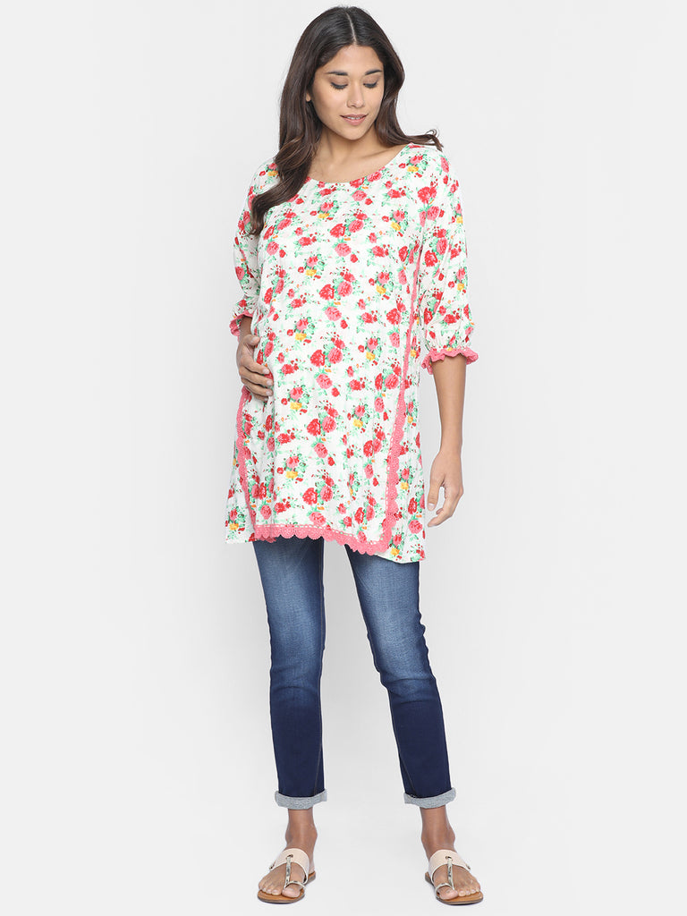 FLORAL BUNCH MATERNITY WEAR KAFTAN TOP