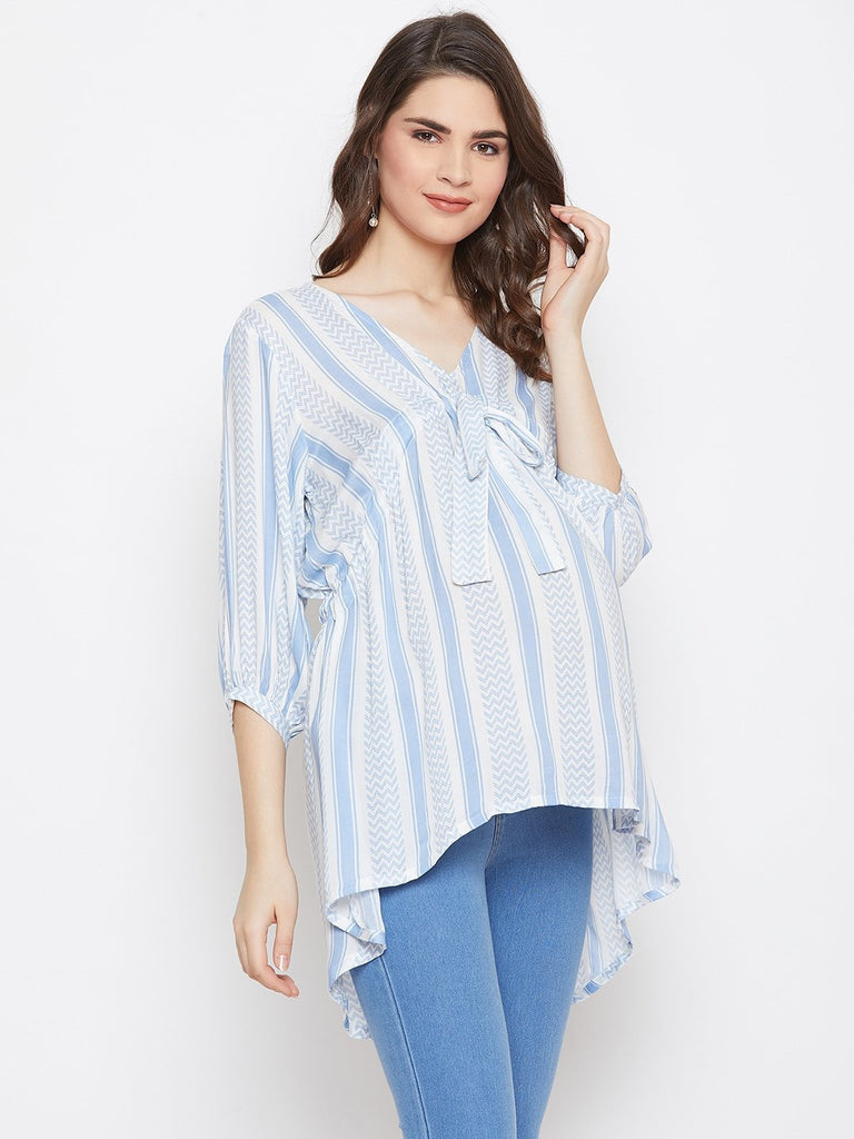WHITE PRINTED MATERNITY KAFTAN TOP