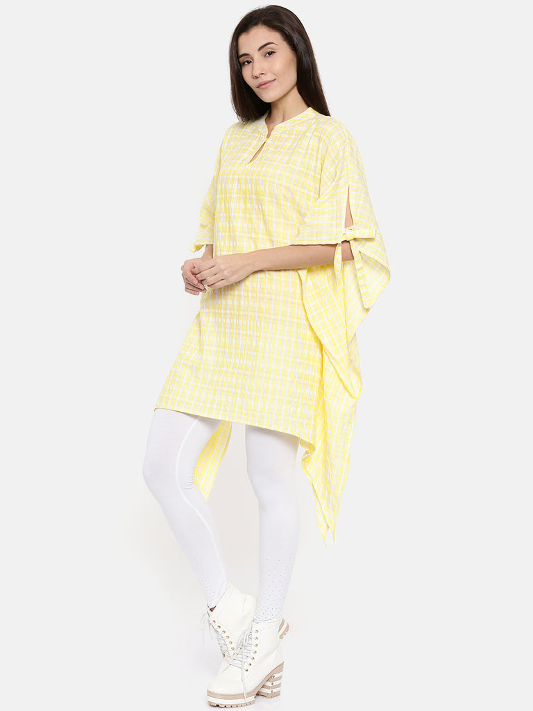 Tartan Plaid Yellow Asymmetric Kaftan