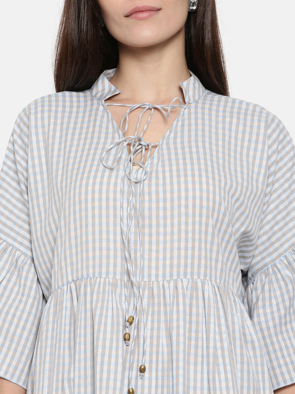 Vintage Gingham Layered Plaid Top