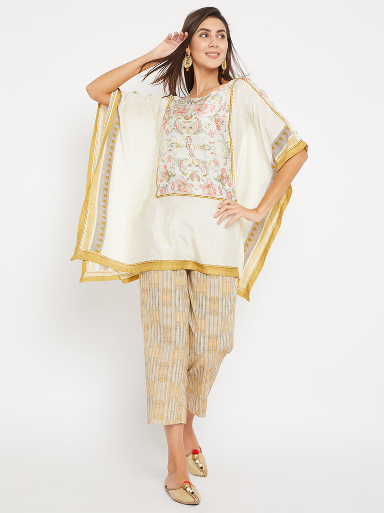Off White Cotton-Silk Palampore Printed Kaftan and Pant Set