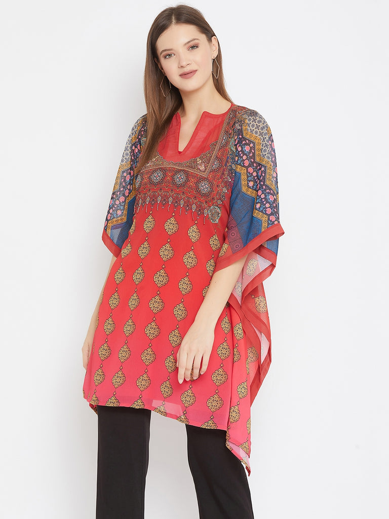 Persian Printed Red Kaftan with Hand Embroidery