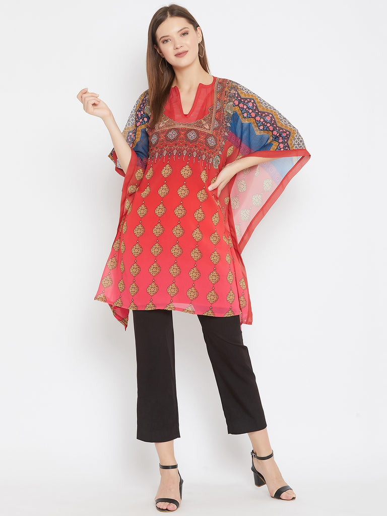 Red Kaftan Top With Embroidery Highlight Along Neckline