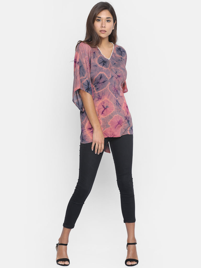 SMOKY SKY TIEDYE KAFTAN TOP