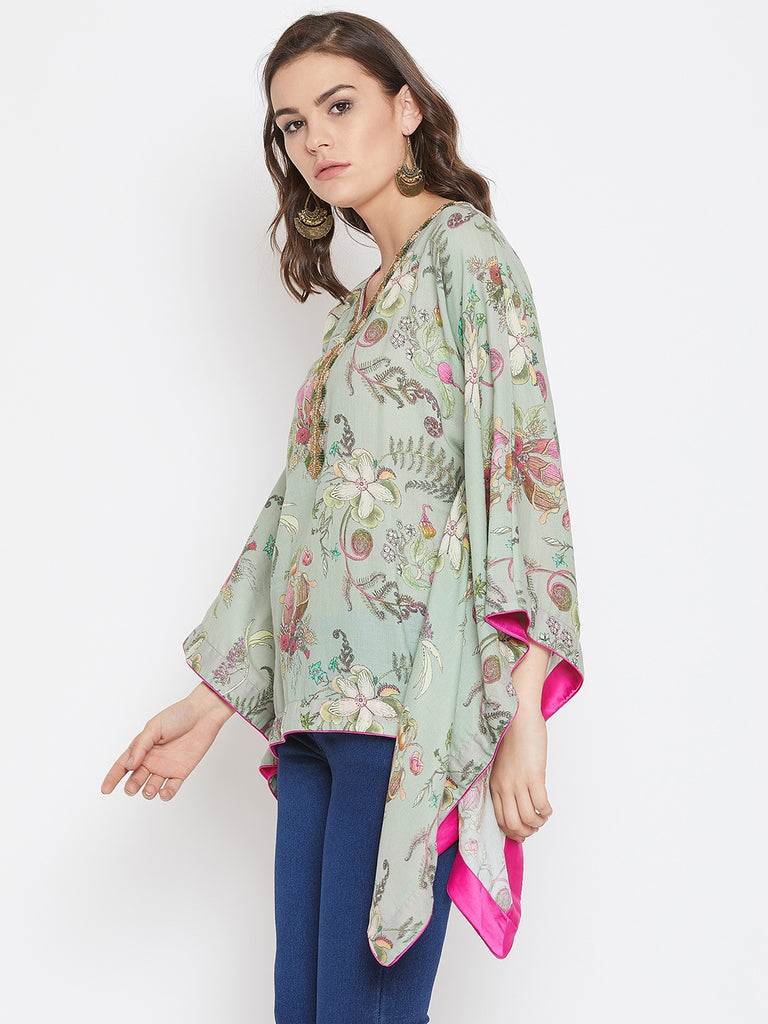Flora Printed Green Kaftan Top with Neck Embroidery