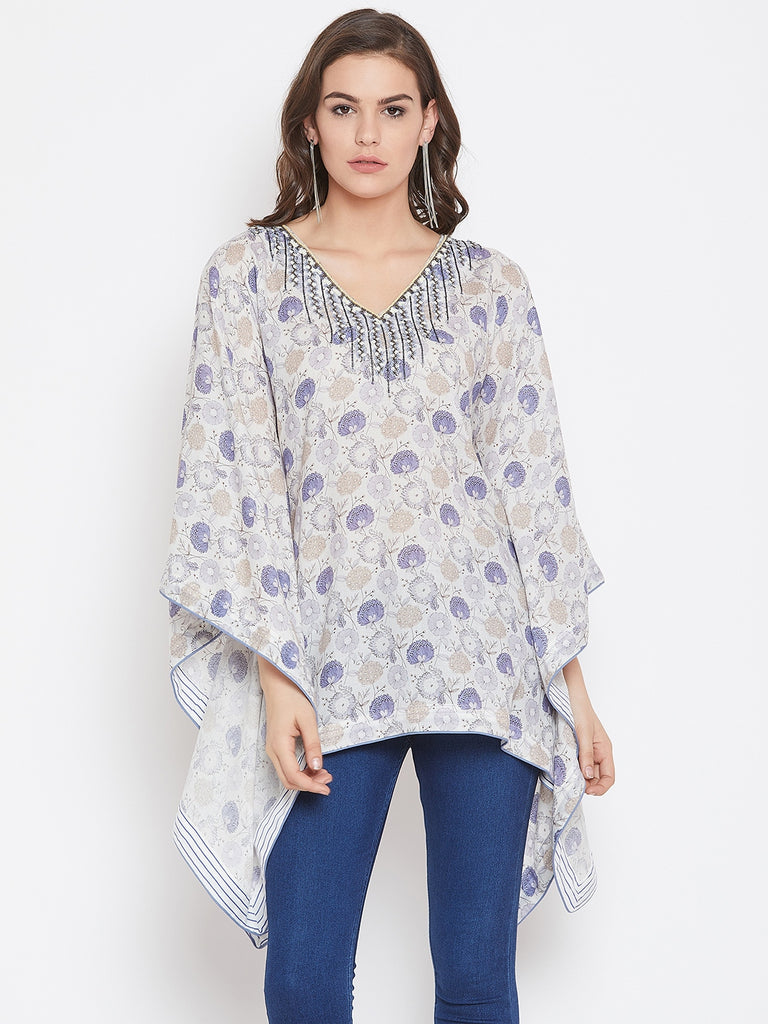 Lilac Asters Kaftan Top with Hand Embroidery