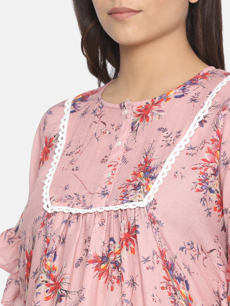 FLORAL POND MATERNITY WEAR KAFTAN TOP